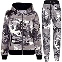 Kids Tracksuit Boys Girls Charcoal Camouflage Jogging Suit Top Bottom 5-13 Years
