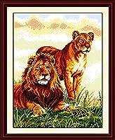 LovetheFamily クロスステッチキット DIY 手作り刺繍キット 正確な図柄印刷クロスステッチ 家庭刺繍装飾品 11CT ( インチ当たり11個の小さな格子)中程度の格子 刺しゅうキット フレームがない - 52×65 cm ライオン