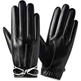Lanoble革手袋 レディース 防寒 スマホ 手袋 裏起毛 防風保温 アウトドア レザーグローブ バイクPU皮手袋冬