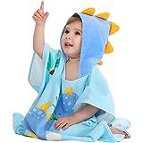 Tonwhar Kids Bath/Pool/Beach Hooded Poncho Towel - Cartoon Animal Pattern Cotton Beach Towel for Infant Boys Girls, 2-4 Years
