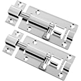 2 pcs 3 Inch Barrel Bolt Security Lock, Stainless Steel Slide Latch Lock with Screwdriver Slide Door Latch for Chests, Cabine
