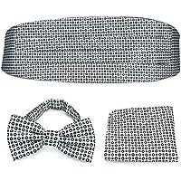 PenSee Formal Geometric Pre-tied Bow Tie & Pocket Square & Cummerbund Set