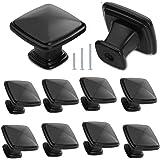 Cabinet Knobs, COZYROOM Drawer Handles Dresser Knobs for Cupboard and Drawer Matte Black Square Cabinet Hardware 30mm 10 Pack