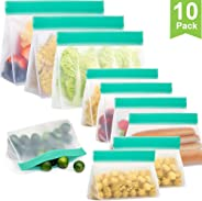 Reusable Sandwich Bags,Reusable Snack Bags,PEVA Ziplock Storage Bags Freezer Safe Leakproof and Washable, Extra Thick FDA Food Grade Material Lunch Bags for Snacks,Fruits- Meal Prepping