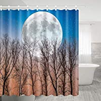 秋の風景特大ムーン浴室の窓の装飾のための生地のホックが付いているポリエステル防水シャワー・カーテン60X72in