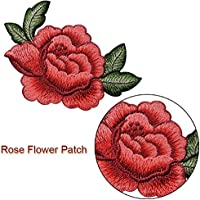 2pcs Cute Colorful Applique ROSE Flowers Patch Embroidered Sew on Clothes Bags Handmade DIY Craft Ornament Fabric Sticker Free shipping