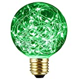SUNDY エジソン装飾電球 ヴィンテージスタイル G95 E27 110V-120V 1.6-2W LED 星空 銅線電球 ホーム 室内 照明 パーティークリスマスの結婚式の装飾ギフト休日ライト (緑)