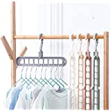 Auch 8 Packs Space Saving Clothes Hangers, Plastic Magic Hangers with 9 Hole, Closet Clothes Hanger Organizer for Shirts Pant