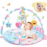 Baby Kick and Play Mat, Hamkaw Baby Play and Sit Mat Newborn Activity Center Lay & Play Piano Gym w/Music and Light for Girls