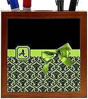 Rikki Knight Letter A Lime Green Monogram Damask Bow Design 5-Inch Tile Wooden Tile Pen Holder (RK-PH41788) [並行輸入品]