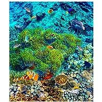 山笑の美 壁紙カスタム3dフローリング壁画熱帯魚床タイルpvc壁紙用リビングルームウォールステッカー-400X280CM