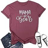 Mama Bear T Shirt Womens Letter Printer Tops Short Sleeve Tee