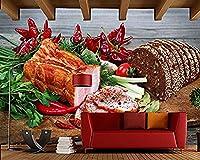 FSKJBZ カスタム ハム パン 野菜 ペッパー カッティングボード フード 3D 壁紙 ファストフードショップ レストラン ダイニングルーム キッチン 壁画 FSKJBZ-696038229