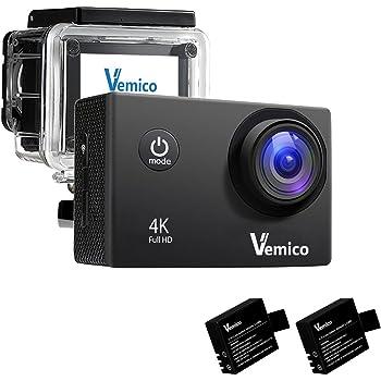Vemico アクションカメラ 4K WIFI搭載 1600万画素 1080P 2インチ液晶画面 170度広角 40m防水 スポーツカメラ バイクや自転車/カート/車に取り付け可能 スポーツや空撮に最適 複数のアクセサリー 二つ電池式取付自由 (ブラック)