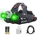 BORUiT RJ-3000 LED Headlamp with Green Light - White & Green LED Hunting Headlight - USB Rechargeable & 3 Mode -Ultra Bright