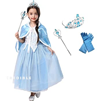 6def69e95db51 CREDIBLE 子供 用 プリンセス ドレス コスチューム 豪華6点セット ・ホワイト×ブルー ( プリンセス