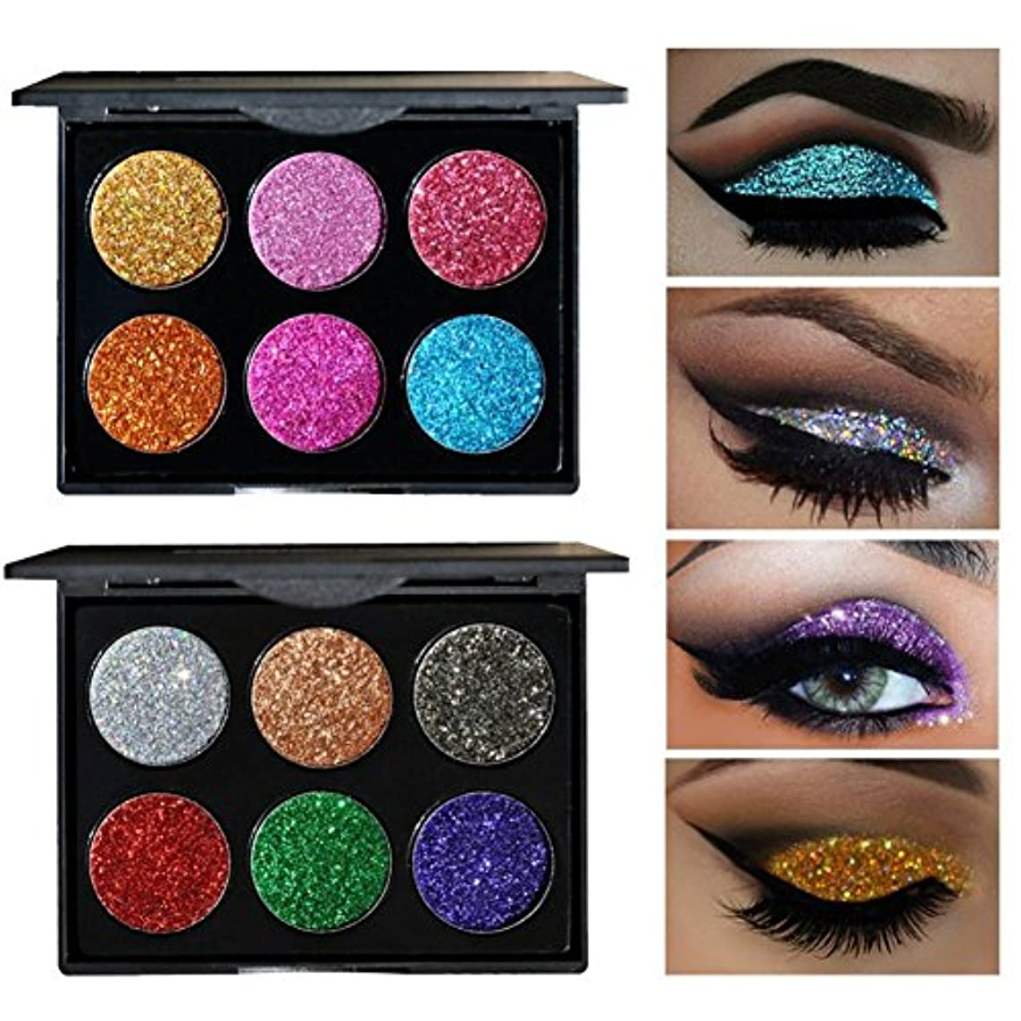 HANDAIYAN 6 Colors Glitter Eye Shadow Brighten Palette Flash Shimmer Natural Glitter Fix Gel Cosmetic Makeup Body...