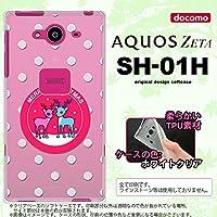 SH01H スマホケース AQUOS ZETA SH-01H カバー アクオス ゼータ ソフトケース トナカイワッペン ピンク nk-sh01h-tp621