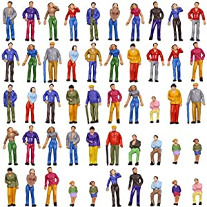 P50W-50 人形 人物 人々 人間 人間フィギュア 塗装人 情景コレクション ザ ・ 鉄道模型・ジオラマ・建築模型・電車模型に 35㎜ スケール:1/48 50個セット