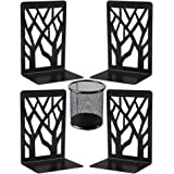 Metal Bookends, Decorative Book Ends, Black Bookends Supports Non Skid Book Stoppers Heavy Duty Book Shelf Holder 2 Pairs, Bo