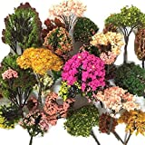 NW 32pcs 0.79-6.30inch Mixed Model Trees Accessories Model Train Scenery Architecture Trees Model Scenery with No Stands(Colo