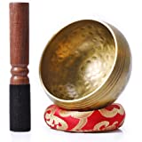 Biggo Tibetan Singing Bowl Set - with Mallet & Silk Cushion- Perfect Resonance Meditation Yoga & Chakra Healing Handmade Bowl