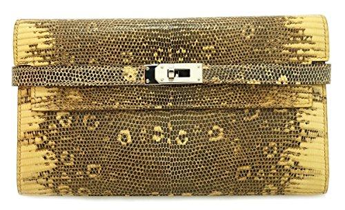 [エルメス] HERMES ケリーウォレット 3つ折長財布 リザード オンブレ シルバー金具 □M刻印 [中古]