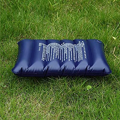 Dark Blue Large Inflatable Camping Pillow Travel Flocking Outdoor Home Office