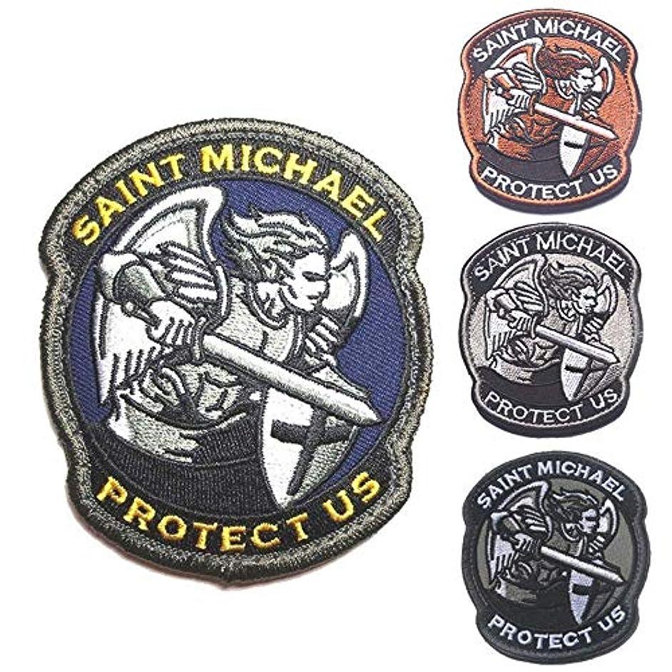 注釈マークダウン逃げるOYSTERBOY 4個 4色 Protect US Saint Michael タクティカルパッチフック&ループ