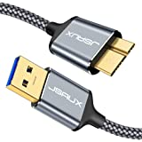 USB 3.0 Micro Cable, JSAUX 2 Pack (3.3ft+6.6ft) USB 3.0 A to Micro B Cable Charger Nylon Braided Cord Compatible with Samsung