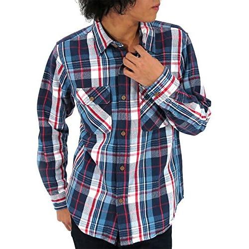 (アヴィレックス) AVIREX シャツ メンズ 長袖 チェックシャツ ブランド 2color LL ブルー