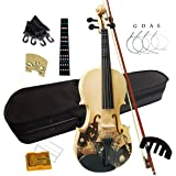 Aliyes Distinctive Artistic Violin Set Designed for Beginners/Students/Kids/adults with Hard Case,Bow,Extra Strings (4/4/Full