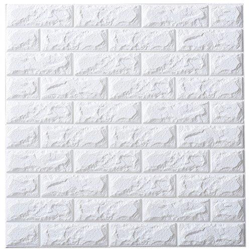 RoomClip商品情報 - 山善(YAMAZEN) 壁紙 タイル レンガ風リメイク ブリックタイル調 DIY ドリームクッションレンガ 70×77cm 3セット ホワイト