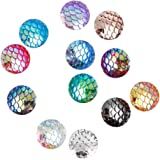 120 Pieces 12 Colors Round Flat Back Resin Cabochon Cameo Faux Druzy Cabochons for Jewelry Making 12mm Fish Scale