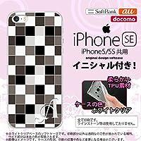 iPhone SE スマホケース ケース アイフォン SE ソフトケース イニシャル スクエア グレー nk-ise-tp1016ini G