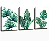 Botanical Prints Wall Art for Bathrooms, 3 Pieces Framed Canvas Tropical Plants Pictures Minimalist Watercolor Painting, Palm