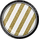 Black and Gold Dessert Plates, 24 ct