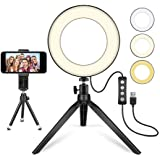 """LED Ring Light 6"""" with Tripod Stand for YouTube Video and Makeup, Mini LED Camera Light with Cell Phone Holder Desktop LED La"""