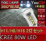 [YOUCM]H8/H11 LEDフォグランプ 日産 ノート H20.1~ E11 6000K 80W 車検対応 2個セット