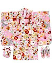七五三 三歳着物 被布8点セット ガールズ 花尽くし ピンク色 N1572