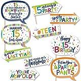 Big Dot of Happiness 面白い15歳の誕生日 陽気な誕生日 カラフルな50歳の誕生日パーティー写真ブース小道具キット 10ピース