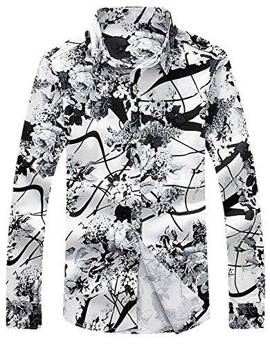 APTRO(アプトロ)花柄 シャツ メンズ 長袖 ワイシャツ カラーシャツ オシャレ 形態安定 上質仕様 お兄系 チョイワル系 アメカジ 柄物 カジュアル プリント アロハシャツ #2ブラック XL