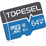TOPESEL 64GB Micro SD Card SDHC Memory Cards UHS-I TF Card Class 10 for Cemera/Phone/Nintendo-Switch/Galaxy/Drone/Dash Cam/GO