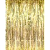 [IOFFICE]IOFFICE Metallic 3 ft X 8 ft. Gold Foil Fringe Curtains Door Window Curtain Party Decoration B0191NSPVC [並行輸入品]