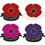 INENIMARTJ 4 Pcs Memorial Day Poppy Brooch Pin, Red and Black Enamel Flower Broach Lest We Forget, Memorial Day Veterans Day
