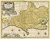 歴史的な地図 コミタス・ドーセストリア Vulgo Anglice Dorset Shire, c. 1708 | ヴィンテージポスター アート 壁飾り | 56in x 44in 5174359_5644_OSH