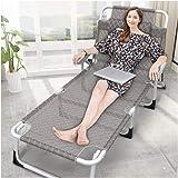 LSXIAO ポータブル折りたたみベッド 調節可能なリクライニングチェア 個人 オフィス お昼寝 ヘッドレストとアームレスト付き 観光、 サマーキャンプ、 ビーチベッド (Color : Gray)