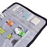 Teamoy デジタル小物整理ケース ロール ナイロン生地 ケーブル USBメモリー イヤホン ガジェット 文房具 化粧品 マルチ収納 カバン 整理 バッグインバッグ(黒)