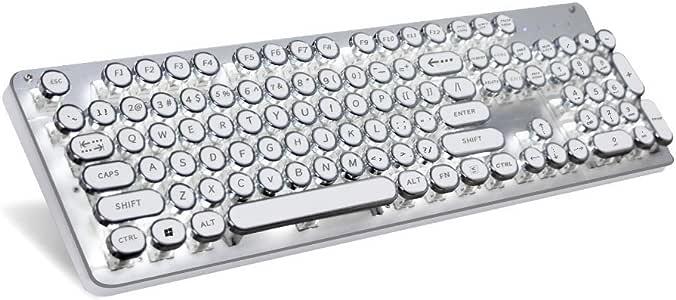 Green Convenience タイプライター キーボード 青軸 USB有線 104キー 英語配列 7種類白LEDバックライト シルバー