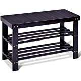 GOFLAME Shoe Bench Rack, 2-tier Bamboo Seat Storage Shelf, Free Standing Shoe Storage Bench with Stylish and Modern Design, S
